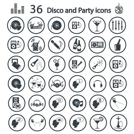 Disco and party icon set