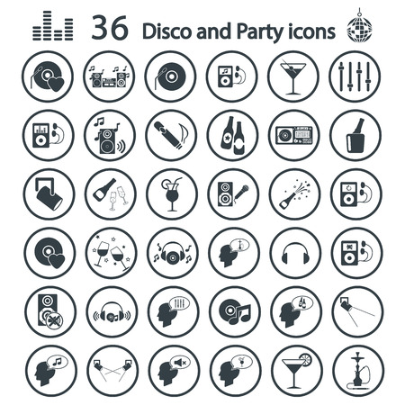Disco and party icon set