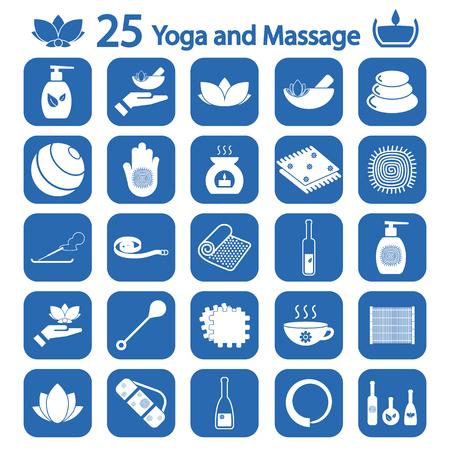 yoga y masaje icono conjunto