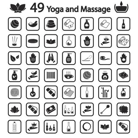 massage symbol: yoga and massage icon set