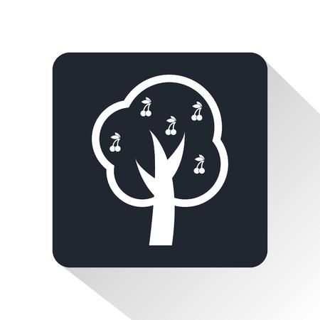 apricot tree: fruit-tree icon Illustration