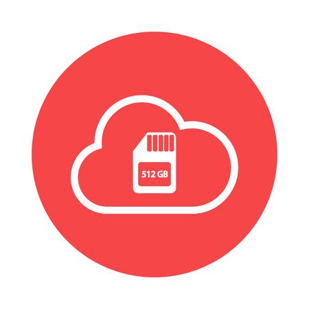 media network: cloud storage icon Illustration