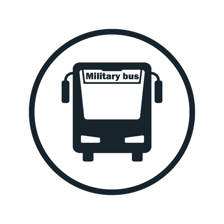 bus parking: military bus icon