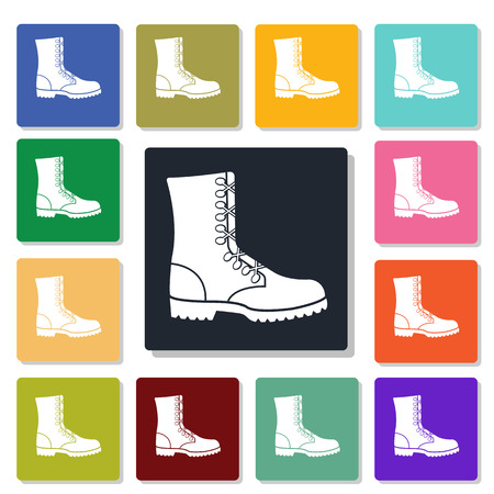 ankle: military ankle boots icon Illustration