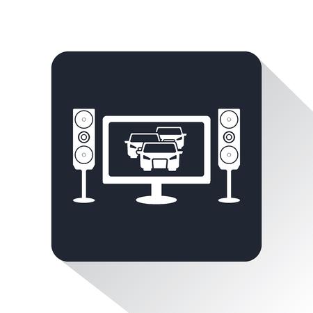 automovilismo en icono de la televisión Ilustración de vector
