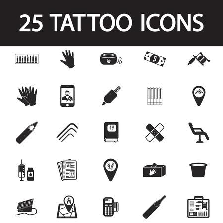 tattooing: tattoo studio icon set