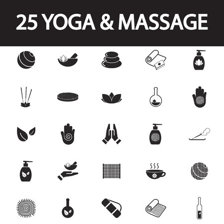 bamboo therapy: yoga and massage icon set