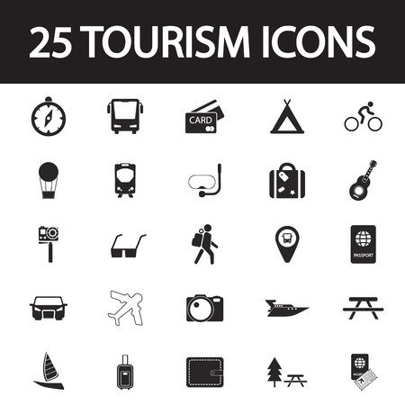 recreation rooms: travel and tourism icon set Illustration