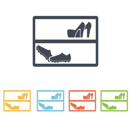 wooden shoes: shoe cabinet icon Illustration