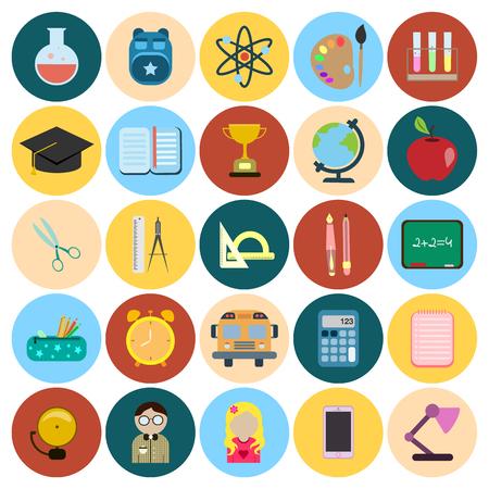 reagents: school flat icon set Illustration