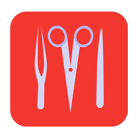 chirurgo: strumenti chirurgo icona piatta Vettoriali