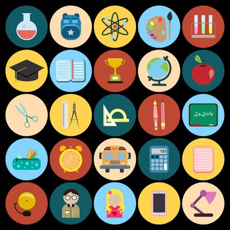 school flat icon set Ilustração