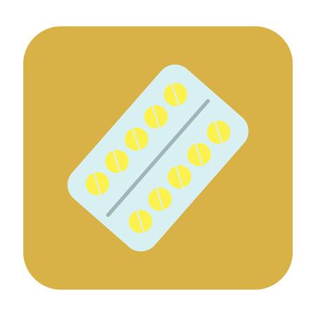 a substance vial: pills flat icon Illustration