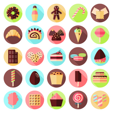 sweets flat icon set Illustration
