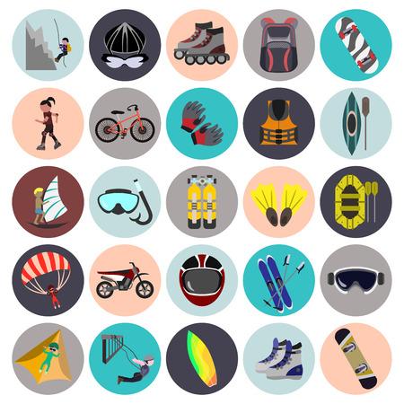 icono deportes: deportes extremos conjunto del icono plana Vectores