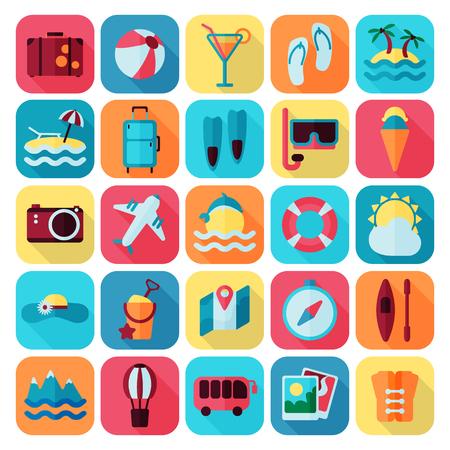 rest: summer rest flat icon set Illustration