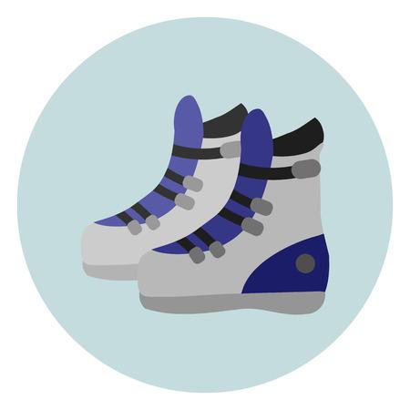 ice slide: ski boots flat icon Illustration