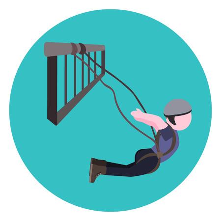 rope bridge: bungee jumping flat icon Illustration