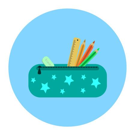 writing instruments: School pencil case icon