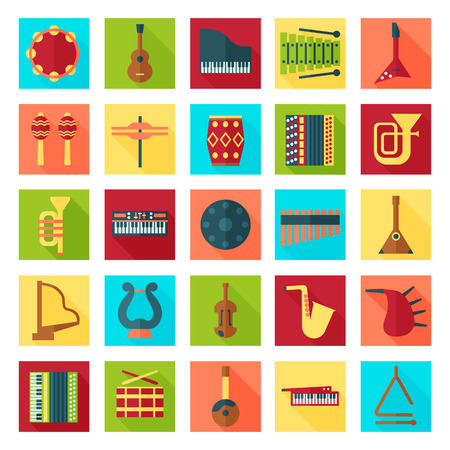 piano roll: musical instruments flat icons set