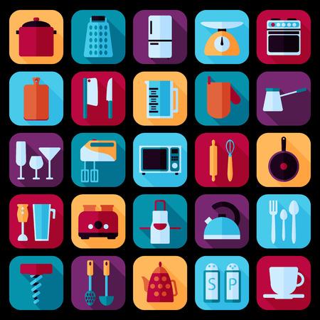 kitchenware icon flat set