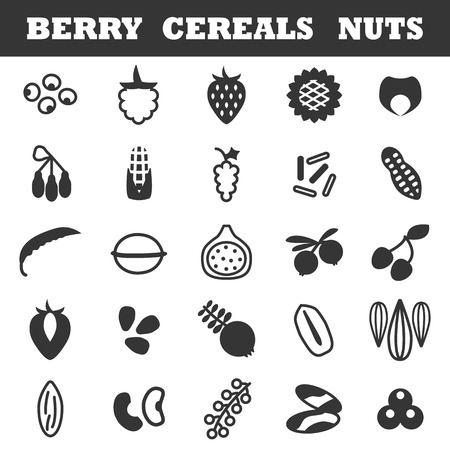 whortleberry: Nuts and berries and grains icon set