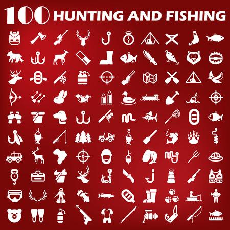 Hunting and fishing icon set