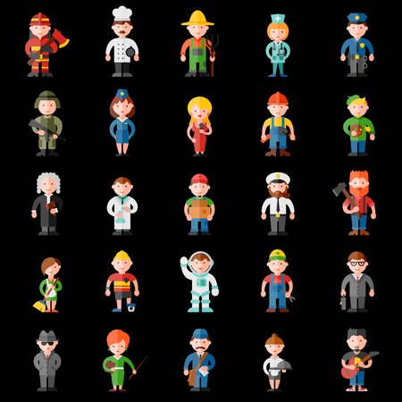 profession: profession flat icon set