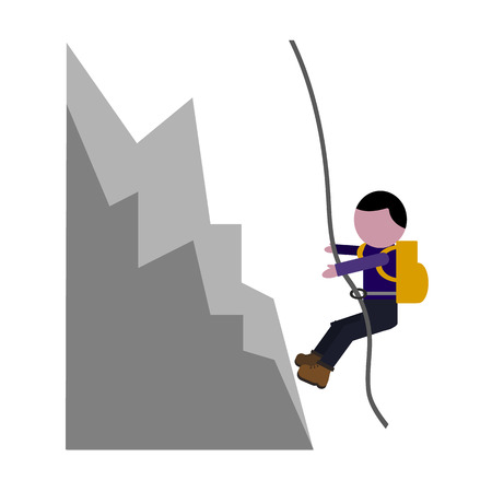 crampons: rock climbing flat icon Illustration