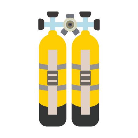 oxygen cylinders flat icon Illustration
