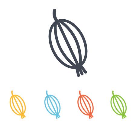 grosella: icono de la grosella espinosa Vectores