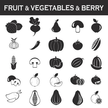 mango slice: fruits and vegetables icon set