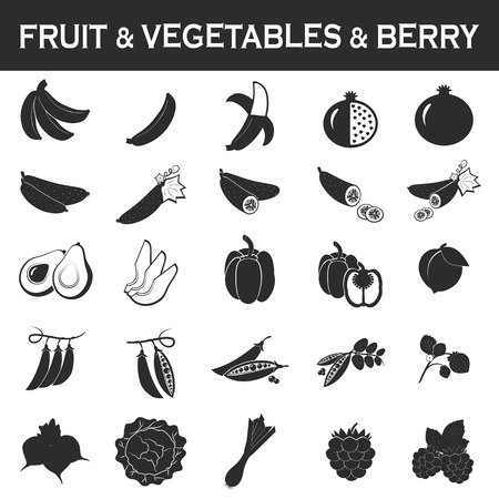 grapes and mushrooms: fruits and vegetables icon set