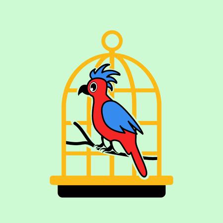 golden cage flat icon Illustration