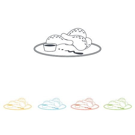 mutton chops: chicken legs icon Illustration