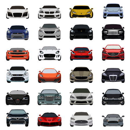 coupe: super car flat icons set