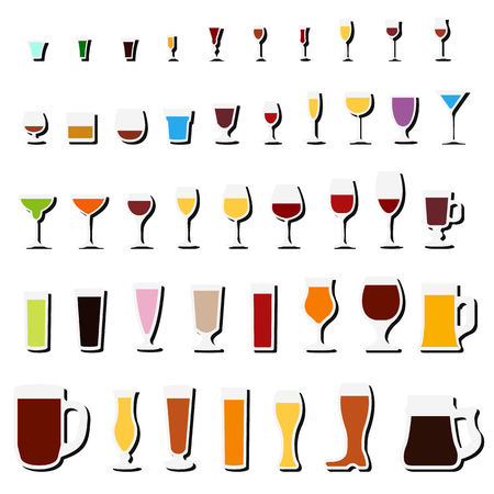 vidrio y copa icono conjunto