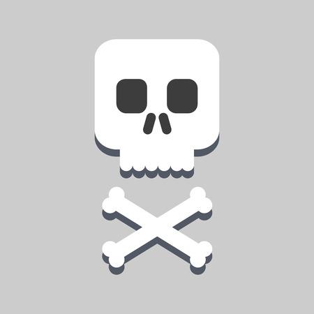 ordered: skull and bones flat icon Illustration
