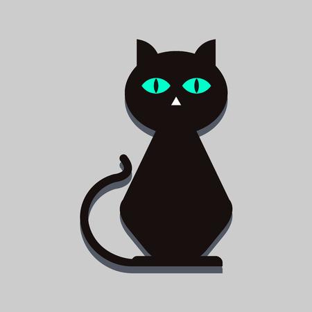 black cat flat icon Illustration