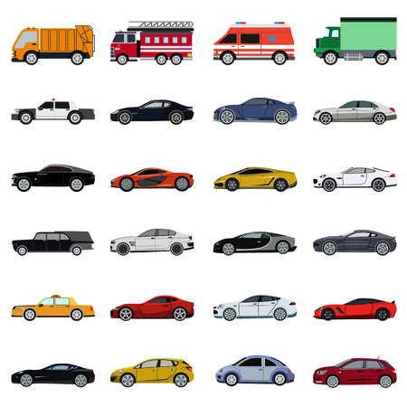 super car flat set icon Illustration