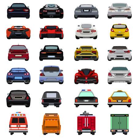 super car flat set icon Vettoriali