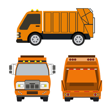 refuse collection vehicle flat icon