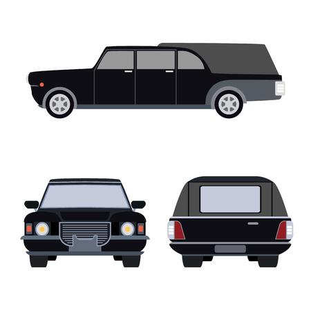 old timer: machine hearse flat icon Illustration