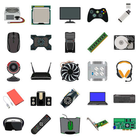 hard drive: computer parts flat icons set