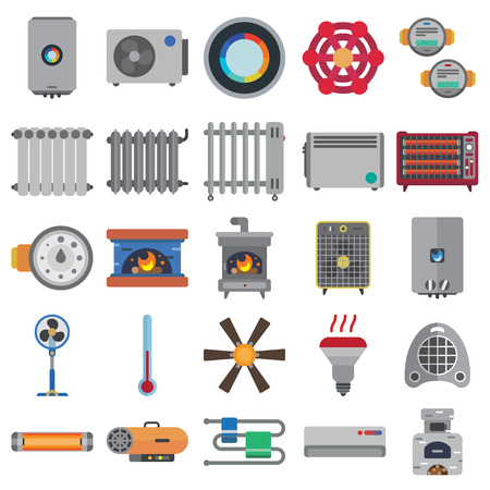 heating systems flat icons set
