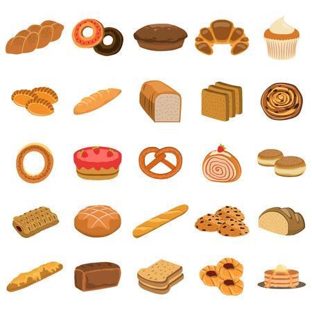 bakery products flat icon set Banco de Imagens - 66810982