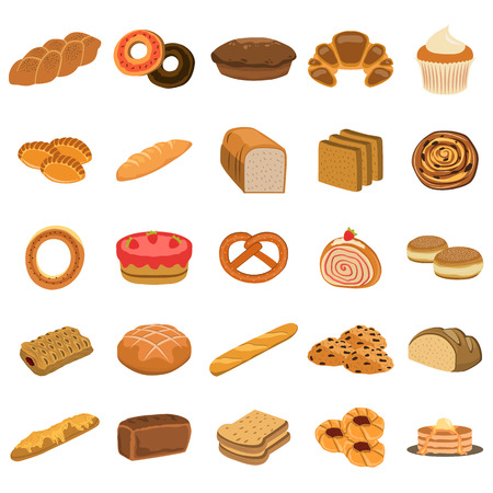 wyroby piekarnicze płaski zestaw ikon