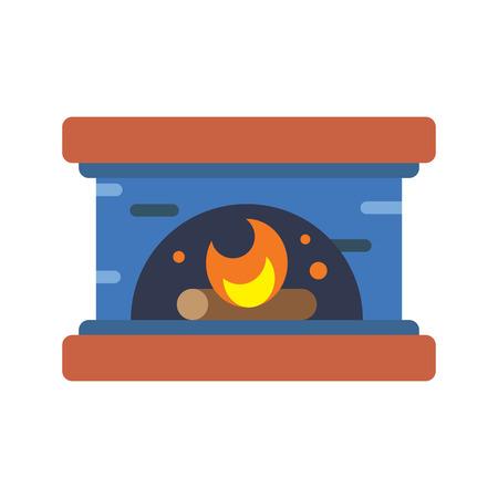 fireplace flat icon Illustration