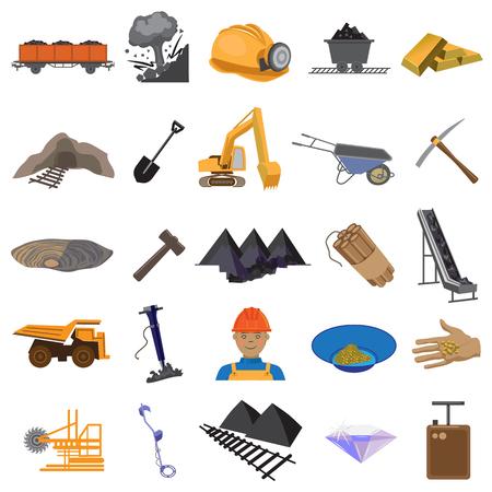 Mines flat icons set