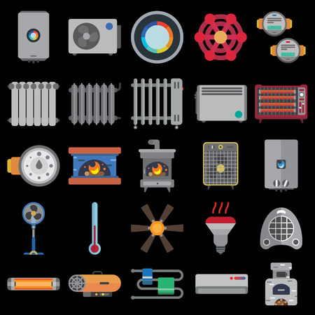 exchanger: heating systems flat icons set